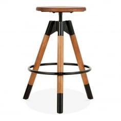 Hamilton Swivel Bar Stool, Solid Pine Wood, Black 61-75cm
