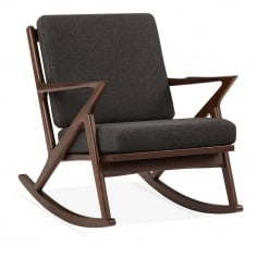 Z Style Dane Wooden Rocking Chair, Grey Upholstered Seat, Walnut Finish