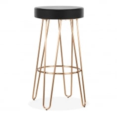 Hairpin Metal Bar Stool, Black Faux Leather Seat, Brass 75cm