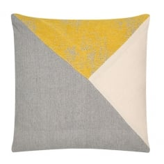 Triangle Patchwork Cushion, Grey and Yellow