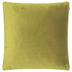Piped Edge Velvet Fabric Cushion, Lime Green