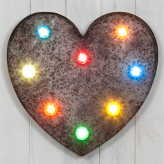 "19"" Multi-Coloured Rustic Turbo Light - Heart"