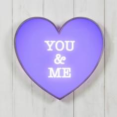 "Metal 13"" Light Up Heart - You & Me"