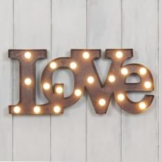 "Metal L.E.D 18"" LOVE Light up Sign - Rustic"