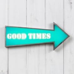 "Metal 16"" Arrow Light Box - Good Times"