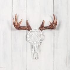Wire Deer Skull - White