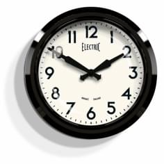 Newgate 50s Electric Wall Clock, Black & White