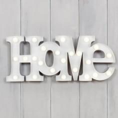 "Metal L.E.D 18"" HOME Light up Sign - White"