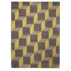 Geometric 3D Illusion Floor Rug, 100% Wool, Lemon & Grey