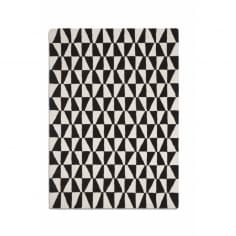 Geometric Floor Rug, 100% Wool, Black & White