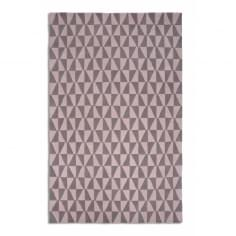 Geometric Floor Rug, 100% Wool, Pink & Grey