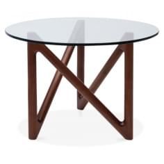 Altra Glass Top Coffee Table, Solid Beech Wood, Walnut Finish