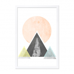 Geometric Graphic Mountain Art Framed Print