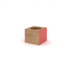 Wooden Block Desk Stationary Holder, Solid Oak