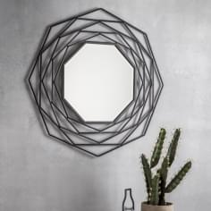 Octave Modern Geometric Metal Wall Mirror, Dark Grey