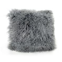 Mongolian Sheepskin Cushion, Grey, Pink, or Grey