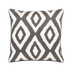 Aztec Diamond Design Fabric Cushion, Graphite Grey