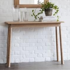 Alpine Contemporary Slim Console Table, Oak