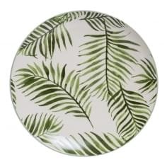Palm Leaf Ceramic Dinner Plate, Green