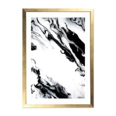 Marble Print Framed Poster, Black and White, A2