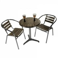Paxton 3 Piece Bistro Set, Round Café Table, Solid Ash and Aluminium