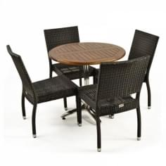 Radcliffe 5 Piece Outdoor Dining Set, Black Rattan