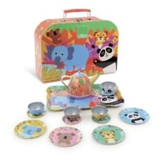 Children's 15 Piece Metal Tea Set in Carry Box - Jungle