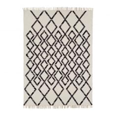 Hackney Hand-Woven Rug, Cotton Wool Blend, Black Diamond
