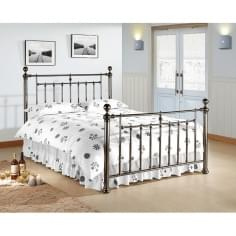 Nora Vintage Style Metal King Size Bed, Black
