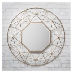 Zodiac 3D Geometric Metal Wall Mirror, Gold