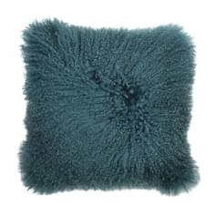 Mongolian Sheepskin Cushion, Teal