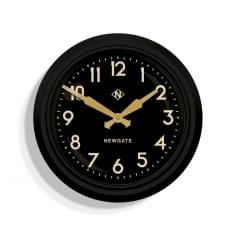 Newgate 50s Electric Wall Clock, Black & Gold