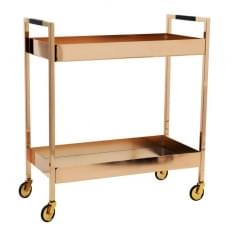 Metal Cocktail Drinks Cart with Mirror Shelves, Copper