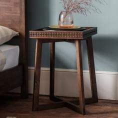 Zephyr Side Table, Solid Mango Wood, Brown