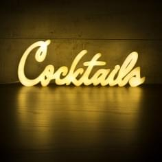 Cocktails Neon Sign Wall Light, White
