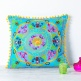 Suzani Embroidered Suzani Square Cushion - Turquoise