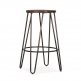 Cult Living Hairpin Stool with Dark Brown Wood Seat - Gunmetal 66cm