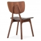 Cult Living Poppy Wooden Dining Chair, Grey Upholstered, Walnut Finish