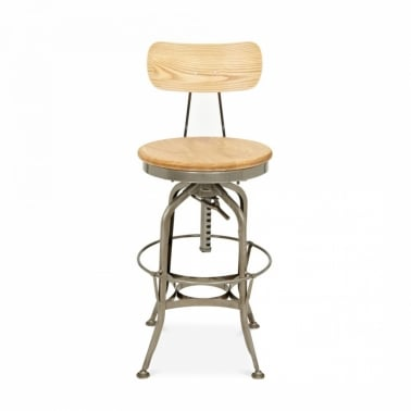 Toledo Style Pump Action Round Bar Stool with Backrest, Gunmetal 64-74cm