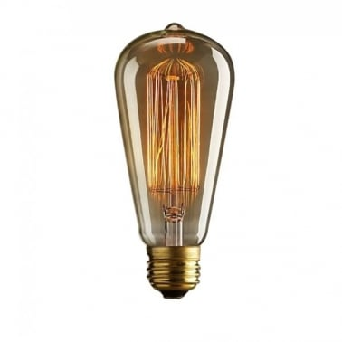 Vintage Squirrel Cage Filament Light Bulb ST64 - E27 / B22