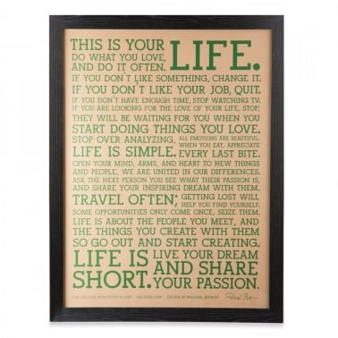 Original LIFE Manifesto Framed Print - Natural / Green