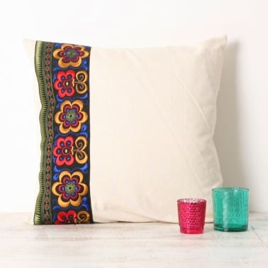 Embroidered Azalea Impression Cushion - White