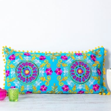 Embroidered Suzani Bolster Cushion - Turquoise
