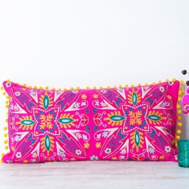 Embroidered Suzani Bolster Cushion - Pink