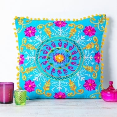 Embroidered Suzani Square Cushion - Turquoise and Pink