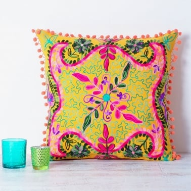 Embroidered Suzani Square Cushion - Yellow