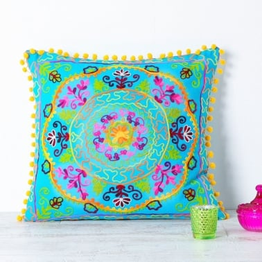 Embroidered Suzani Square Cushion - Turquoise
