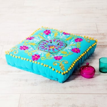 Embroidered Suzani Square Floor Cushion - Turquoise and Pink