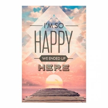 Wall Art Typography Canvas Print, Happy