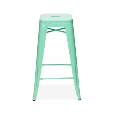 Tolix Style Metal Bar Stool - Peppermint 75cm
